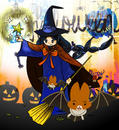 ハロウィン魔女とコウモリのイラスト